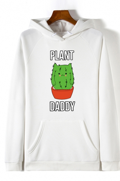 Chic Womens Long Sleeve Drawstring Letter PLANT DADDY Cactus Graphic Pouch Pocket Relaxed Hoodie, Black;pink;white;gray, LC608051