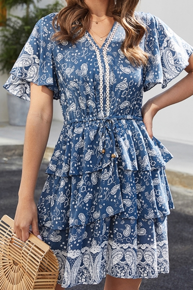 Cute Girls Bell Sleeve V-Neck All Over Floral Pattern Ruffled Trim Short A-Line Pleated Dress