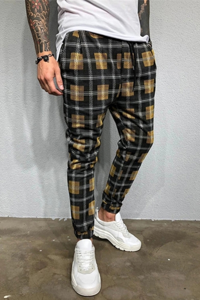 Fancy Stylish Mens Drawstring Waist Plaid Printed Ankle Length Relaxed Fit Pants