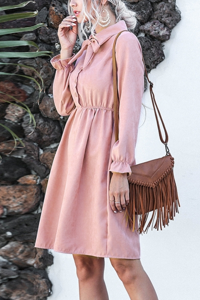 Formal Boutique Ladies Solid Color Long Sleeve Bow Tie Neck Corduroy Midi Pleated A-Line Dress