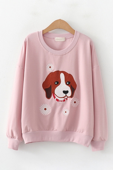 Leisure Preppy Girls Long Sleeve Round Neck Dog Floral Patterned Embroidered Relaxed Pullover Sweatshirt