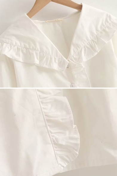 Pretty Girls Long Sleeve Peter Pan Collar Button Down Ruffled Trim Relaxed Blouse Top in White