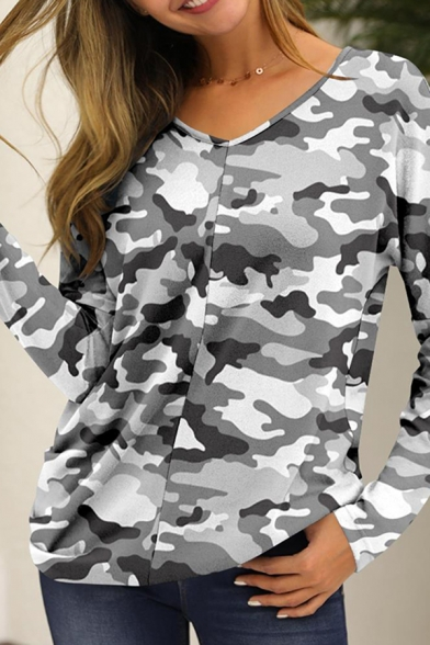 Womens Casual Long Sleeve V-Neck Camo Skull Printed Relaxed Fit T Shirt