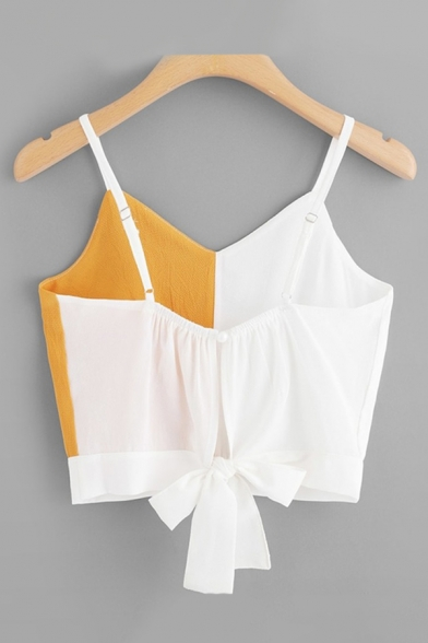 Chic Ladies Street Sleeveless V-Neck Bow Tied Cut Out Back Color Block Fitted Crop Cami Top in White