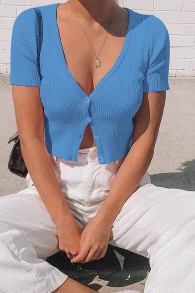 Elegant Stylish Ladies Solid Color Short Sleeve V-Neck Button Up Knitted Fit Cropped Tee Top