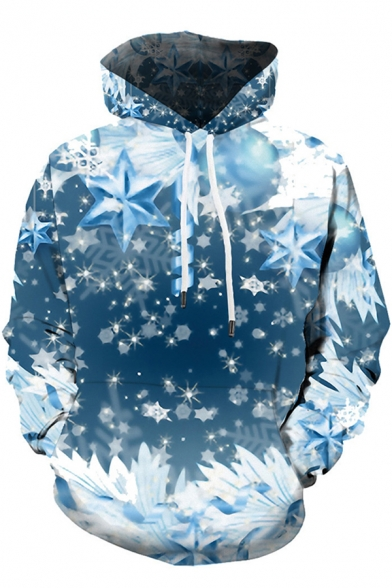 Fancy Guys Long Sleeve Drawstring 3D Snowflake Printed Pouch Pocket Relaxed Fit Christmas Hoodie in Blue