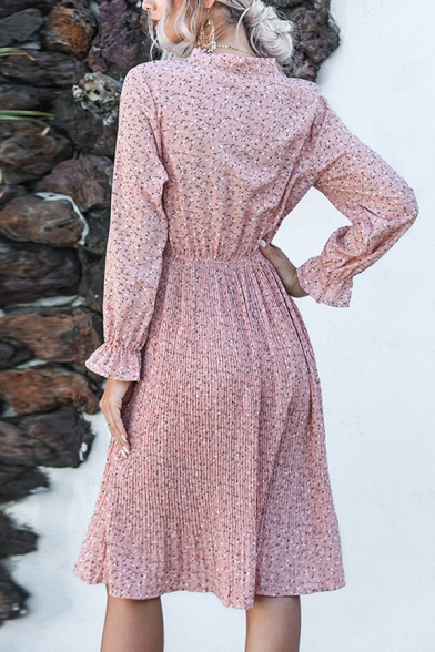 Fashionable Girls Long Sleeve Bow Tie Neck Ditsy Floral Pattern Midi Pleated A-Line Dress