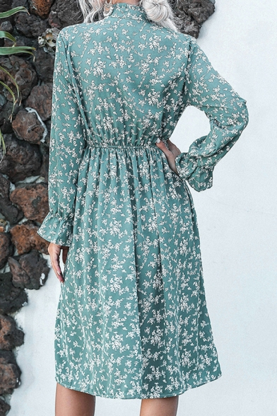 Fashionable Ladies Long Sleeve Stand Collar Button Up Ditsy Floral Print Long Pleated A-Line Dress