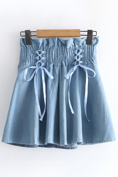 Baycheer / Popular Womens Elastic Waist Lace Up Solid Color Mini Pleated Skirt