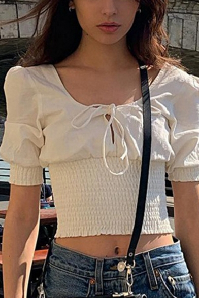 Pretty Girls White Puff Short Sleeve Bow Tie Neck Cut Out Pleated Fit Cropped T Shirt