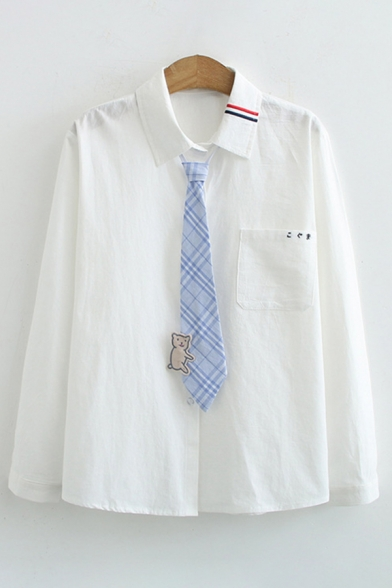 Simple Girls Long Sleeve Lapel Collar Button Down Plaid Cat Tie Stripe Letter Embroidery Loose Shirt in White