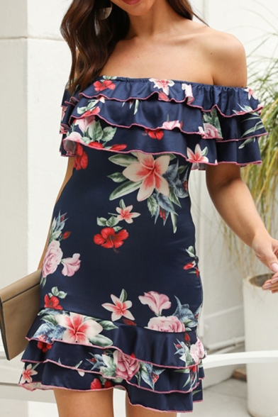 Amazing Navy Off the Shoulder Ruffled Trim All Over Floral Print Mini Bodycon Dress for Ladies