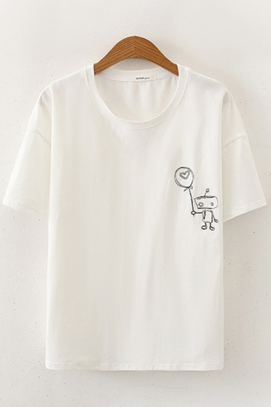 Chic Womens Short Sleeve Round Neck Cartoon Patterned Loose Fit T-Shirt