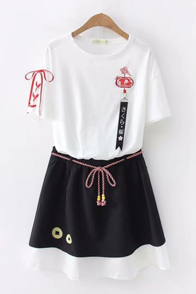 Girls Chic White Short Sleeve Round Neck Embroidered Lace Up Tape Decoration Fit Tee & Bow Tie Waist Geo Pattern Colorblock Short A-Line Skirt, LM612430