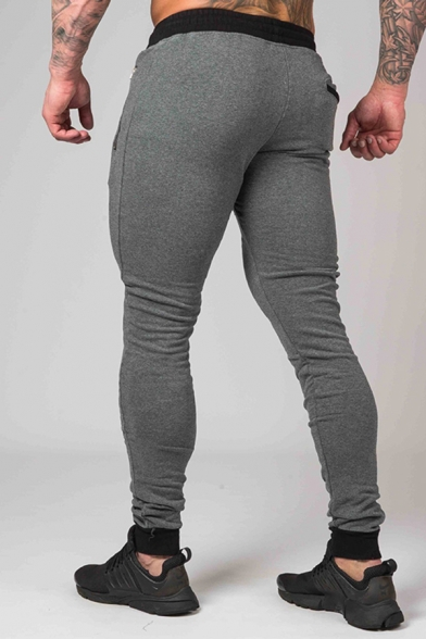 Popular Guys Drawstring Waist Letter Print Cuffed Ankle Slim Fitted Contrasted Sweatpants