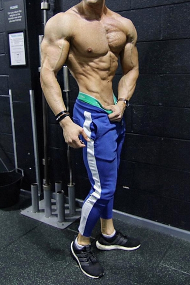 Popular Muscle Guys Drawstring Waist Stripe Patterned Cuffed Ankle Slim Fitted Pants