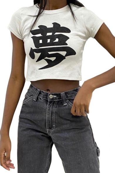 Womens Simple Short Sleeve Crew Neck Chinese Letter Print Slim Fit Crop Tee Top in White