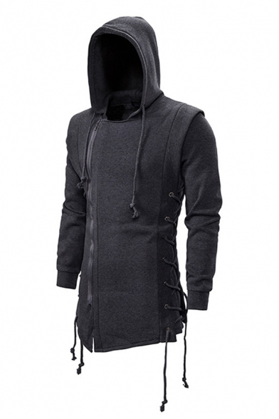 Casual Mens Long Sleeve Zipper Front Lace Up Sides Slim Fit Hoodie