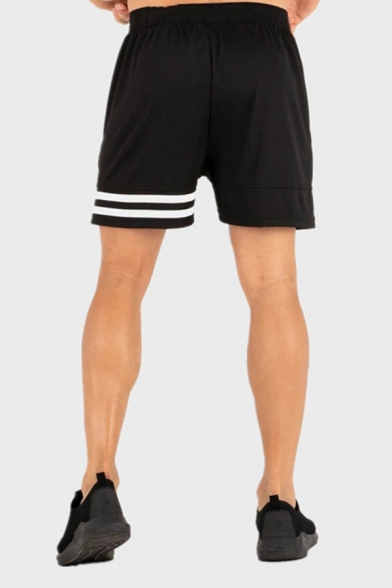 Cool Stylish Boys Drawstring Waist Stripe Patterned Contrasted Relaxed Shorts