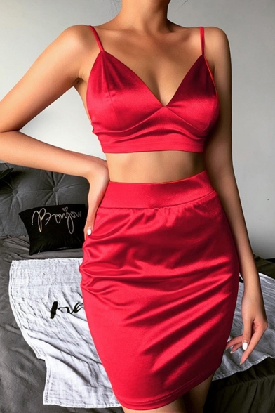 Elegant Womens Plain Sleeveless Fitted Crop Cami Top & High Rise Slit Side Short Tight Skirt Two Piece Sets, Black;red, LM613433