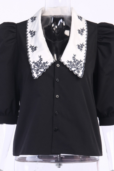 Girls Lovely Puff Sleeves Peter Pan Collar Floral Embroidery Button Up Loose Blouse