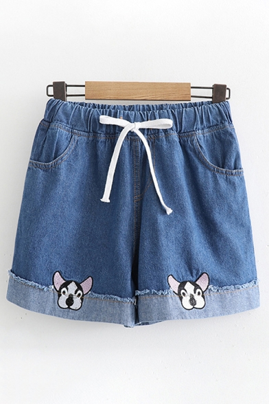Popular Girls Drawstring Waist Dog Embroidered Raw Edges Relaxed Fit Denim Shorts