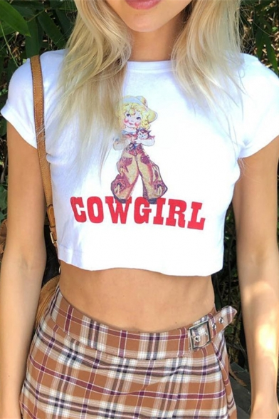 Simple Womens Short Sleeve Crew Neck Letter COW GIRL Cartoon Graphic Slim Fit Crop T-Shirt in White