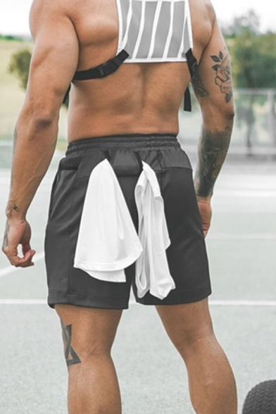 Training Mens Drawstring Waist Solid Color Zipper Pocket Relaxed Fit Shorts with Towel Loop
