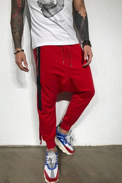 Trendy Mens Drawstring Waist Zipper Sides Contrasted Dropped Insteam Sweatpants