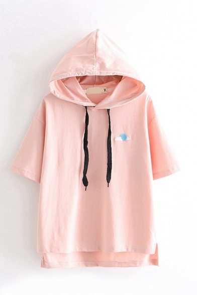 Chic Basic Girls Short Sleeve Drawstring Cloud Moon Embroidery Loose Fit Hoodie