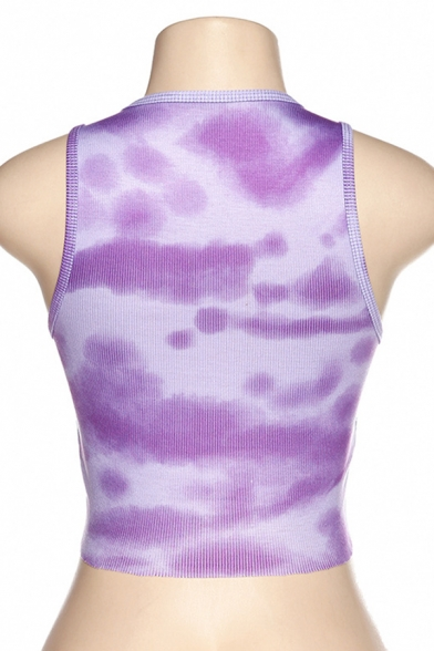 Fancy Girls Sleeveless Round Neck Tie Dye Knitted Fit Crop Tank Top