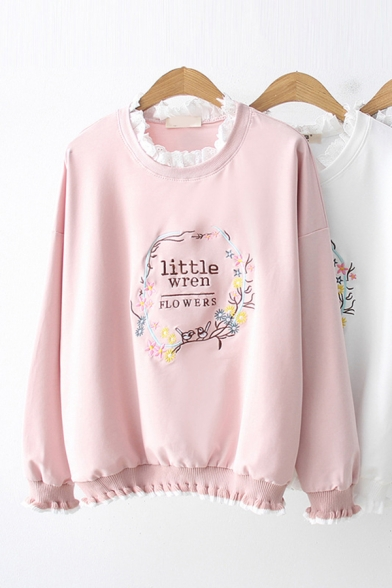 Fashion Pretty Long Sleeve Crew Neck Letter LITTLE WREN FLOWERS Floral Embroidery Loose Pullover Sweatshirt
