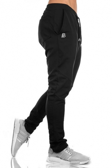 Simple Trendy Muscle Guys Drawstring Waist Letter B Print Slim Fitted Long Sweatpants