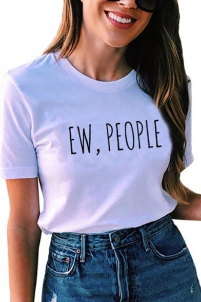 Simple Womens Short Sleeve Round Neck Letter EW PEOPLE Print Relaxed Fit Tee Top
