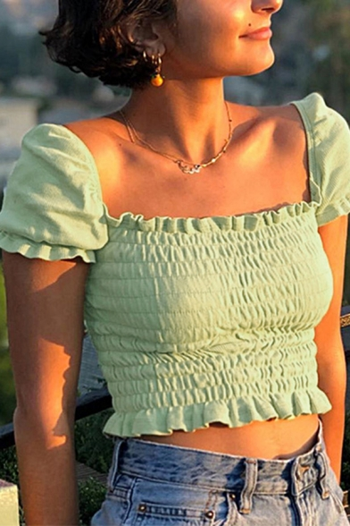 Stylish Womens Puff Sleeve Square Neck Stringy Selvedge Pleated Fitted Plain Crop T Shirt