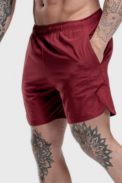 Summer Fitness Mens Elastic Waist Solid Color Split Sides Relaxed Fit Shorts