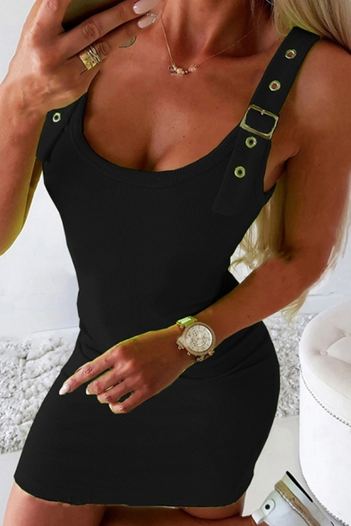 Chic Solid Color Sleeveless Buckle Straps Round Neck Mini Sheath Tank Dress for Ladies