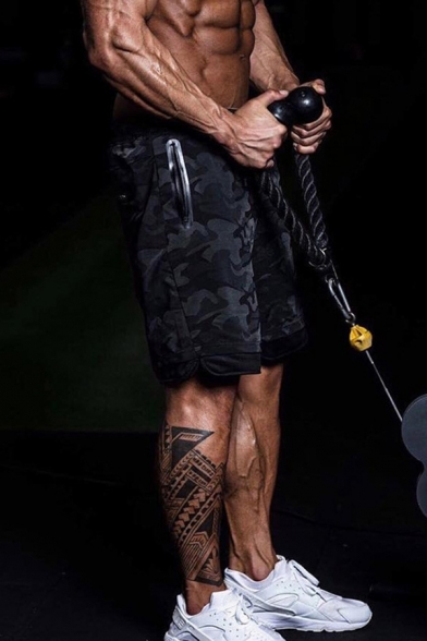 Cool Gym Boys Drawstring Waist Camo Printed Slit Side Loose Fit Shorts in Black