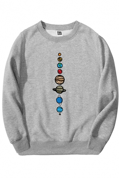 Cool Hip Hop Mens Long Sleeve Crew Neck Planet Patterned Loose Fit Pullover Sweatshirt