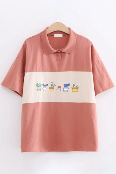 Cute Girls Short Sleeve Lapel Collar Button Up Plant Patterned Color Block Relaxed Fit Polo Shirt