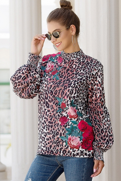 Fashionable Womens Blouson Sleeve Mock Neck Floral Leopard Patterned Cut Out Back Relaxed Fit Blouse Top