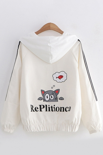 Girls Trendy Long Sleeve Hooded Zipper Front Letter REPLITIONCA Cat Fish Graphic Striped Loose Coat