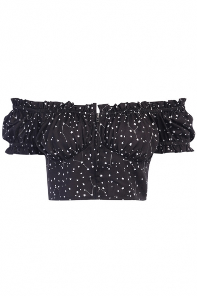 Hot Ladies Short Sleeve Off the Shoulder All Over Star Print Stringy Selvedge Slim Fit Crop Tee Top in Black