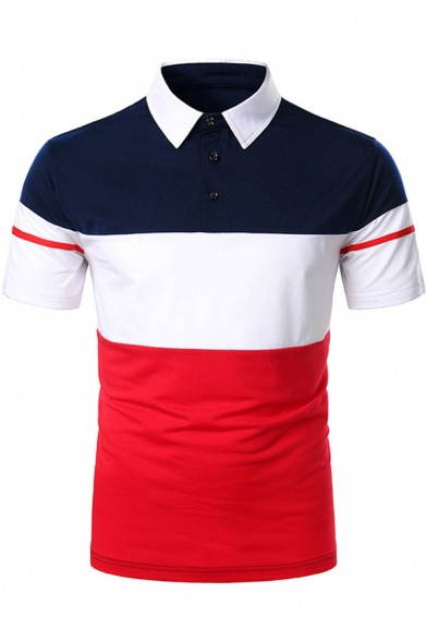 Leisure Formal Short Sleeve Lapel Neck Button Up Color Block Striped Regular Fit Polo Shirt for Guys