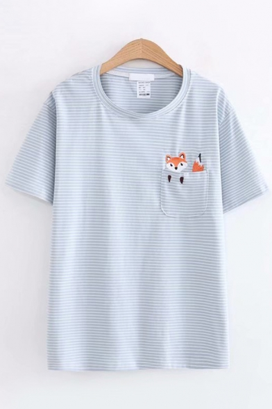 Summer Classic Girls Short Sleeve Round Neck Pocket Fox Embroidery Striped Relaxed Fit T-Shirt