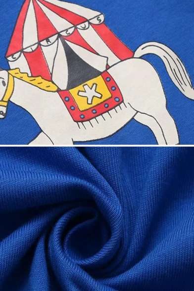 Unique Chic Womens Short Sleeve Crew Neck Horse Patterned Patched Relaxed Fit T-Shirt in Blue