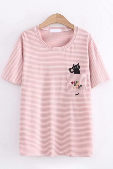 Womens Fashionable Short Sleeve Round Neck Pocket Cat Embroidered Striped Loose T-Shirt