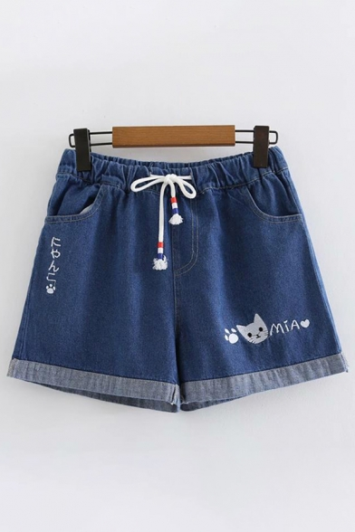 Womens Trendy Drawstring Waist Cat Letter Embroidery Rolled Edge Relaxed Denim Shorts