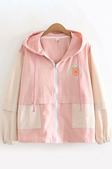 Casual Girls Long Sleeve Zipper Front Drawstring Bear Printed Colorblock Loose Fit Hooded Jacket