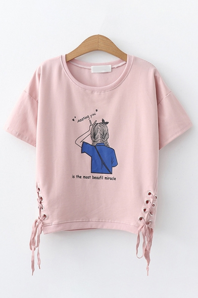 Fancy Girls Short Sleeve Round Neck Letter Print Cartoon Girl Graphic Lace Up Side Relaxed T Shirt LM602429 фото